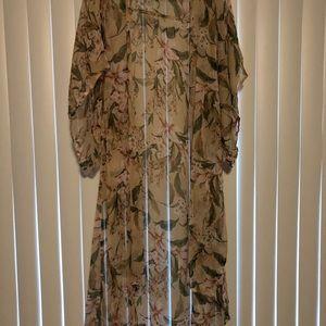 Sheer floral pastel kimono size L